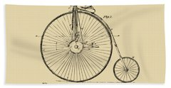 1881 Velocipede Bicycle Patent Artwork - Vintage Beach Towel