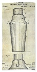 1884 Drink Shaker Patent Beach Towel