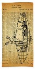 1884 Submarine Ship Patent Beach Towel by Dan Sproul