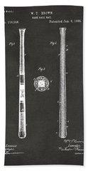 1885 Baseball Bat Patent Artwork - Gray Beach Sheet by Nikki Marie Smith