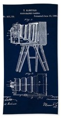 1885 Camera Us Patent Invention Drawing - Dark Blue Beach Towel