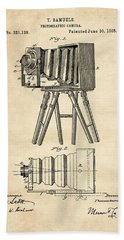 1885 Camera Us Patent Invention Drawing - Vintage Tan Beach Towel