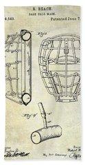 1887 Baseball Mask Patent Beach Sheet by Jon Neidert