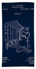 1888 Camera Us Patent Invention Drawing - Dark Blue Beach Towel