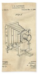 1888 Camera Us Patent Invention Drawing - Vintage Tan Beach Towel