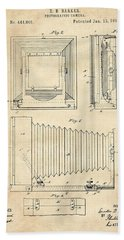 1891 Camera Us Patent Invention Drawing - Vintage Tan Beach Towel