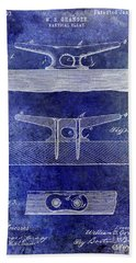 1895 Nautical Cleat Patent Blue Beach Towel