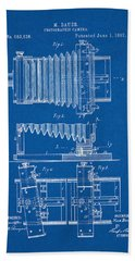 1897 Camera Us Patent Invention Drawing - Blueprint Beach Towel