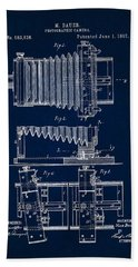 1897 Camera Us Patent Invention Drawing - Dark Blue Beach Towel
