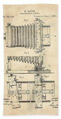 1897 Camera Us Patent Invention Drawing - Vintage Tan Beach Towel