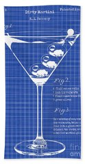 1897 Dirty Martini Blueprint Beach Towel by Jon Neidert