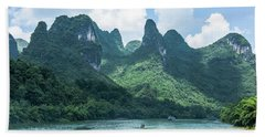 Lijiang River And Karst Mountains Scenery Beach Towel