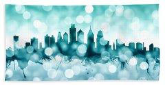 Philadelphia Pennsylvania Skyline Beach Towel by Michael Tompsett