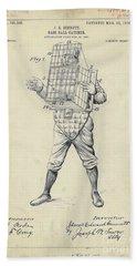 1904 Baseball Catcher Patent Beach Towel