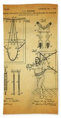 1905 Exercise Apparatus Patent Beach Towel by Dan Sproul