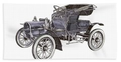 Beach Towel featuring the drawing 1906 Knox Model F 3 Surry by Jack Pumphrey