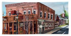 Beach Towel featuring the painting 1907 Restaurant And Bar - Ellijay, Ga - Historical Building by Jan Dappen