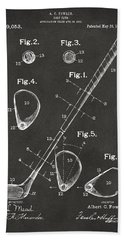 1910 Golf Club Patent Artwork - Gray Beach Towel