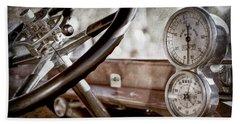 Beach Towel featuring the photograph 1914 Rolls-royce 40 50 Silver Ghost Landaulette Steering Wheel -0795ac by Jill Reger