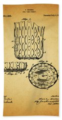 Beach Sheet featuring the mixed media 1916 Pool Table Pocket Patent by Dan Sproul