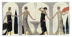 1920s Women In Evening Dress Beach Towel