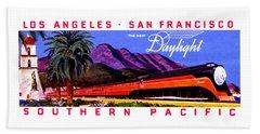 1922 Daylight Railroad Train Beach Towel