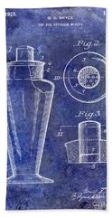 1925 Cocktail Shaker Patent Blue Beach Towel