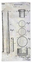 1926 Baseball Bat Patent Beach Towel