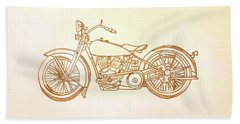 1928 Harley Davidson Motorcycle Graphite Pencil - Sepia Beach Towel