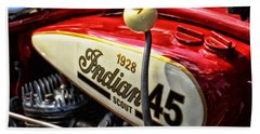 1928 Indian Scout Gas Tank Beach Towel by Mike Martin