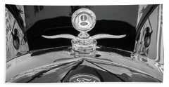 Beach Towel featuring the photograph 1929 Ford Model A Hood Ornament Bw by Rich Franco