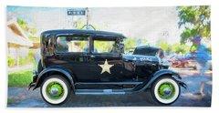 1929 Ford Model A Tudor Police Sedan  Beach Sheet by Rich Franco