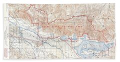 1929 Usgs Map Of Grand Teton National Park Wyoming  Beach Towel