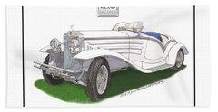 1930 Isotta Fraschini 8a Flying Star Roadster Beach Sheet by Jack Pumphrey