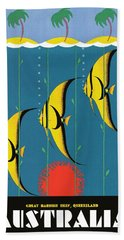 1930's Australia Great Barrier Reef Travel Poster Beach Towel