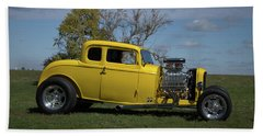 1932 Ford 5 Window Coupe Hot Rod Beach Towel