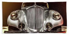 1933 Pierce-arrow Silver Arrow Front View Beach Towel by Wade Brooks