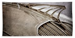 Beach Towel featuring the photograph 1934 Desoto Airflow Coupe Hood Ornament -2404ac by Jill Reger