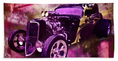 1934 Ford Coupe Hot Rod Acrylic Illustration Beach Towel