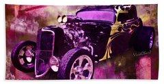 1934 Ford Coupe Hot Rod Acrylic Illustration Beach Sheet