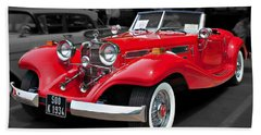 1934 Mercedes 500k Cabriolet Beach Towel