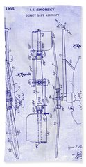1935 Helicopter Patent Blueprint Beach Towel by Jon Neidert