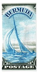 1936 Bermuda Yacht Postage Stamp Beach Towel