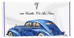 Beach Towel featuring the painting 1936 Cadillac V-16 Aero Coupe by Jack Pumphrey
