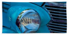 1936 Chevy Coupe Headlight And Grill Beach Towel