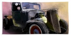 1936 Chevy Rat Rod Pickup Watercolour Beach Towel
