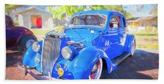 1936 Ford 5 Window Coupe 001 Beach Towel