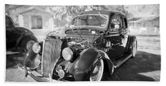1936 Ford 5 Window Coupe 002 Beach Towel