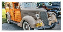 1936 Ford V8 Woody Station Wagon Beach Towel