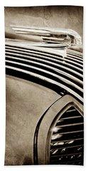 Beach Towel featuring the photograph 1936 Pontiac Hood Ornament -1140s by Jill Reger